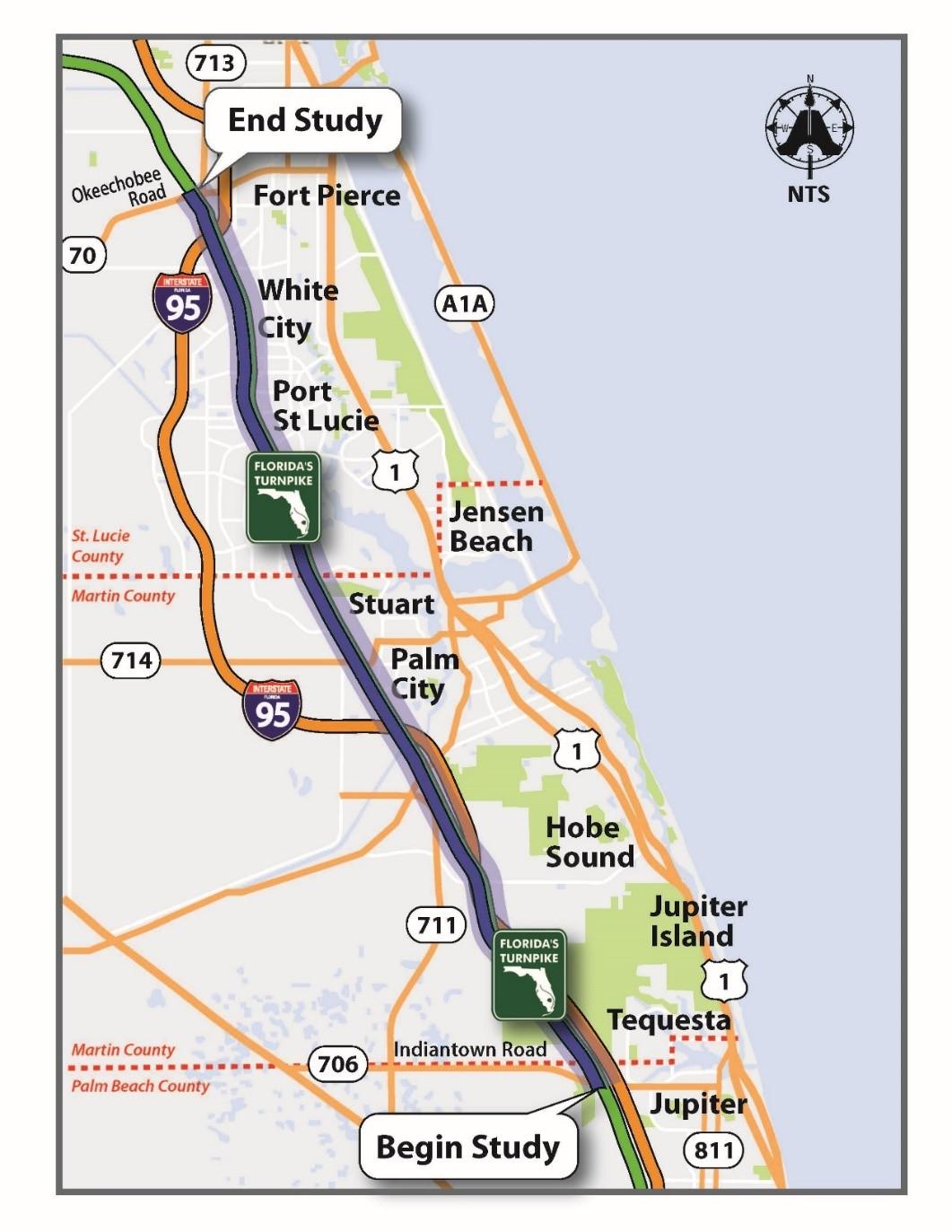 Jupiter Okeechobee Road Map